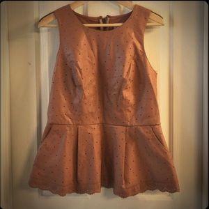 Make An Offer=Peplum Leather Top